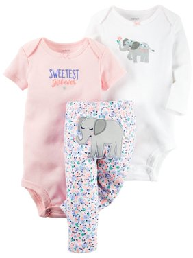 Carters Baby Clothing Outfit Girls 3-Piece Little Character Set Sweetest Elephant, Pink