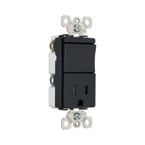 Legrand TradeMaster 15A 120/125V Decorator One Single Pole Switch and One Single Outlet in Black