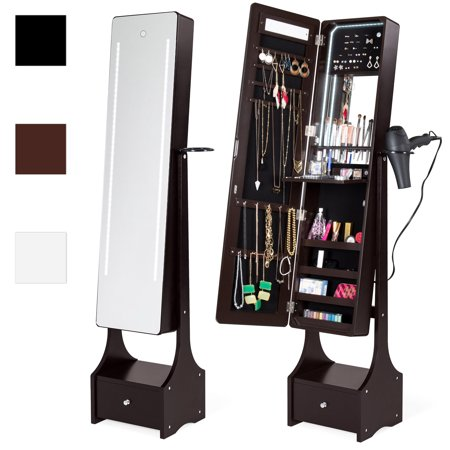 Best Choice Products Full Length Standing LED Mirrored Jewelry Makeup Storage Cabinet Armoire with Interior & Exterior Lights, Touchscreen, Shelf, Velvet Lining, 4 Compartments, Drawer,
