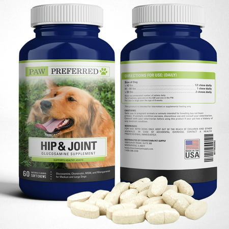Premium Canine Glucosamine Chondroitin with MSM for Dogs, Great All Natural Beef Liver Chews Supplement for Hip and Joints, Safe and Made in USA (Chews, 60