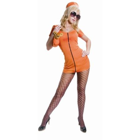 Adult Sexy Prisoner Halloween Costume Set - Orange - Super Low Closeout Price - Halloween Closeout