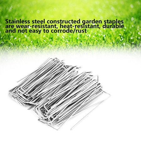 Tbest 100Pcs Stainless Steel Ground Garden Staple Pins Weed Barrier Fabric Stake Fixed Accessories,Garden Staple, Garden Staple