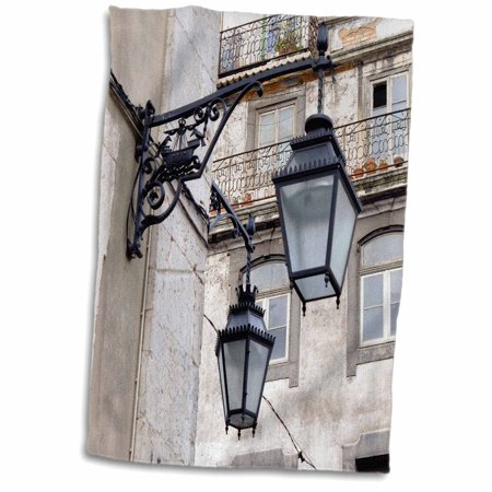 3dRose Portugal, Lisbon. Wrought iron street lights on building - Towel, 15 by 22-inch