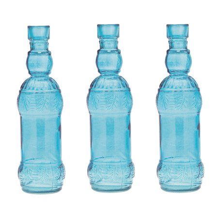 Turquoise Wedding (Small Vintage Glass Bottle Set of 3 (7-Inch, Ms. B Design Small, Turquoise Blue) - Flower Bud Vase - For Home Decor and Wedding)