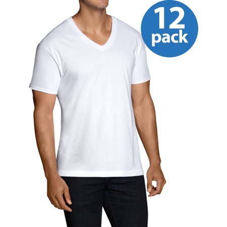 Men's EXTREME VALUE Dual Defense White V-Neck T-Shirts, 12 Pack (under tshirts for men xxl vneck)