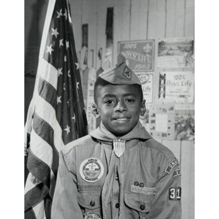 Portrait of a boy scout smiling Poster Print
