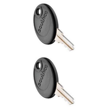Pair of Southco R001 Keys, Black Plastic Head, for RV, Motorhome, & Boat Locks - Non Keyed Patio Bolt
