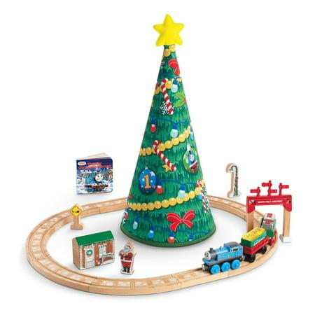 Thomas Christmas Train Set.Fisher Price Thomas Friends Wooden Railway Thomas Christmas Wonderland Set