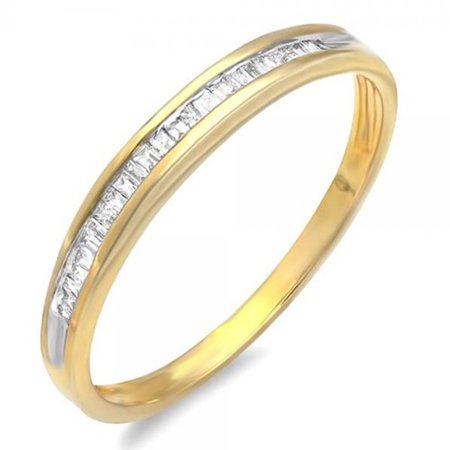 Dazzlingrock Collection 0.12 Carat (ctw) 18K Yellow Gold Plated Sterling Silver Baguettes Cut Diamond Ladies Anniversary Wedding Band Stackable Ring, Size 6 18k White Gold Diamond Wedding Band
