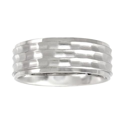 Men's Bark Finish Ring in Stainless Steel