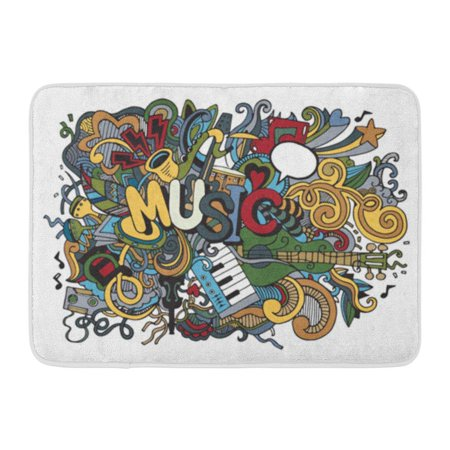 KDAGR Drawn Abstract Music Collage Musical Instruments Doodle Hand Doormat Floor Rug Bath Mat 30x18 inch