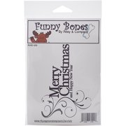 "Riley & Company Funny Bones Cling Stamp 5""X3.5""-Merry Christmas"