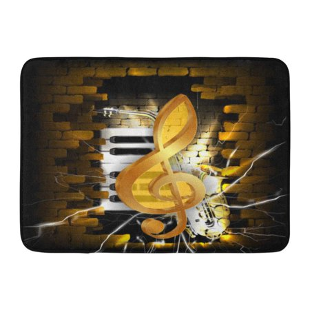 GODPOK Musical Black Abstract Golden Treble Clef on Brick Wall Saxophone Piano Keys White Guitar Rug Doormat Bath Mat 23.6x15.7 inch