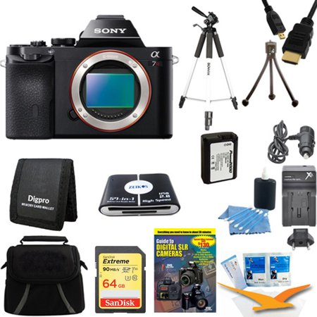 Sony 36.3 MP a7R ILCE7R/B ILCE7RB ILCE7R Full-Frame Interchangeable Digital Lens Camera - Body Only with 64GB SDXC Memory Card, Full Sized Tripod, NP-FW50 Camera Battery, Carrying Case and more.