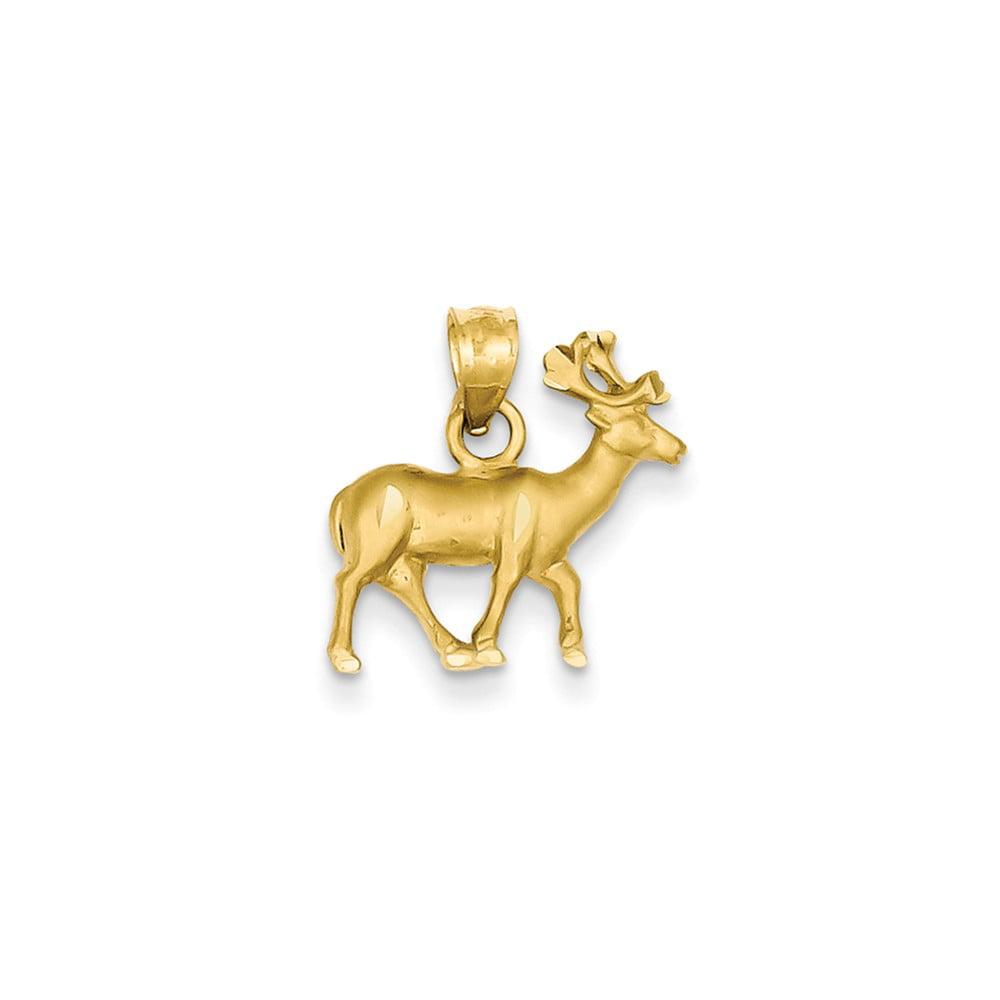 14k Yellow Gold D/C Reindeer Pendant