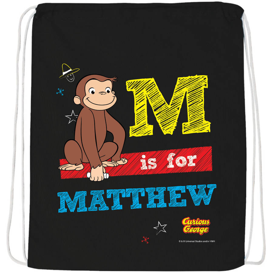 Personalized Curious George Chalkboard Black Drawstring Bag by Generic
