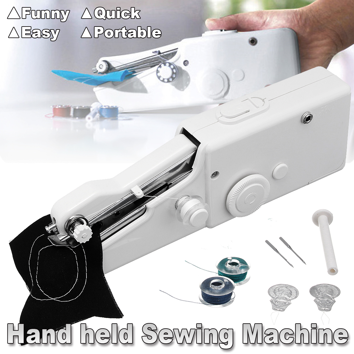 Household Handy Cordless White Portable Stitch Handheld Sewing Machine Quick Repair Home