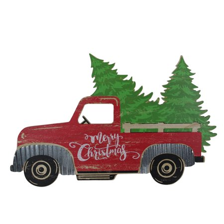 Old Red Truck With Christmas Tree In Back.31 Red Wooden Merry Christmas Pick Up Truck Christmas Tabletop Decoration