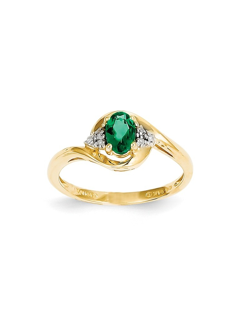 ICE CARATS 14kt Yellow Gold Diamond Green Emerald Band Ring Size 7.00 Stone Birthstone May Set Style Fine Jewelry Ideal... by IceCarats Designer Jewelry Gift USA
