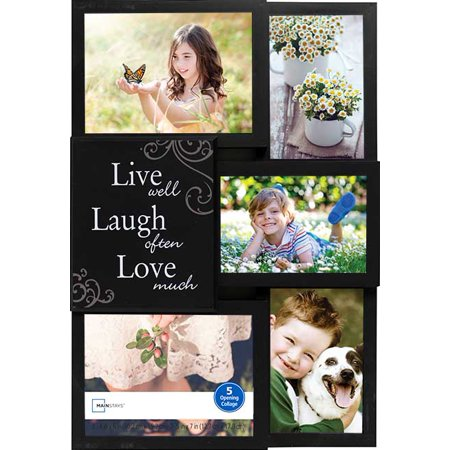 "Mainstays 5-Opening ""Live Well, Laugh Often, Love Much"" Collage Picture Frame - Black"