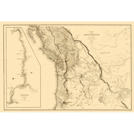 Old State Map   Oregon Territory   Us Exploring Expedition 1841   23 X 33 84