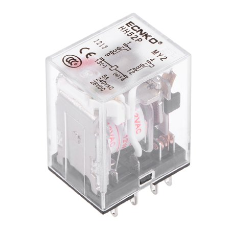 12v Ac Dpdt Relay - HH52P AC 12V Coil DPDT 8 Pins Electromagnetic Power Relay Red LED Light