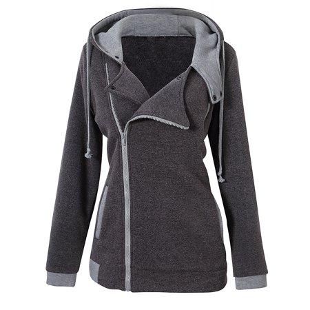 Coat Black Short Sleeve Buttons - Women's Long Sleeve Sweater Hooded Inclined Zipper Snap Button Slim Coat Deep Gray L