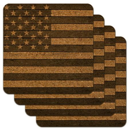 Rustic Subdued American Flag Wood Grain Design Low Profile Novelty Cork Coaster Set - Rustic Coasters