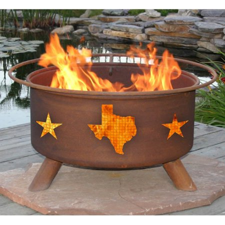 (Patina Texas State and Stars 30 diam. Fire Pit with Grill and Cover)