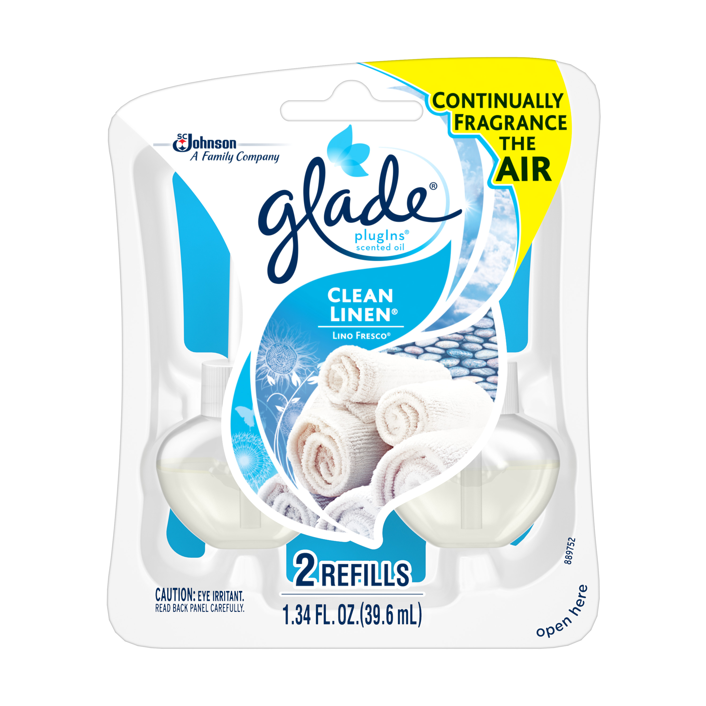 Glade Plug In Refill, Clean Linen, 1.34 Fl. Oz. (Pack of 2)
