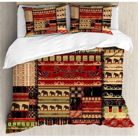 African Duvet Cover Set, Patchwork Style Asian Pattern with Elephants and Cultural Ancient Motifs Print, Decorative Bedding Set with Pillow Shams, Red Green Black, by Ambesonne