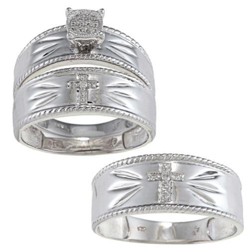 JewelonFire Sterling Silver Diamond Accent Cross 3-piece His and Hers Bridal-style Ring Set