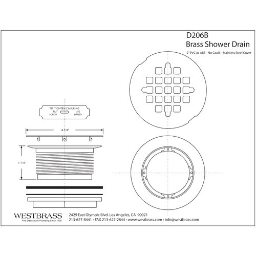 Westbrass Body Compression 4.5'' Shower Drain