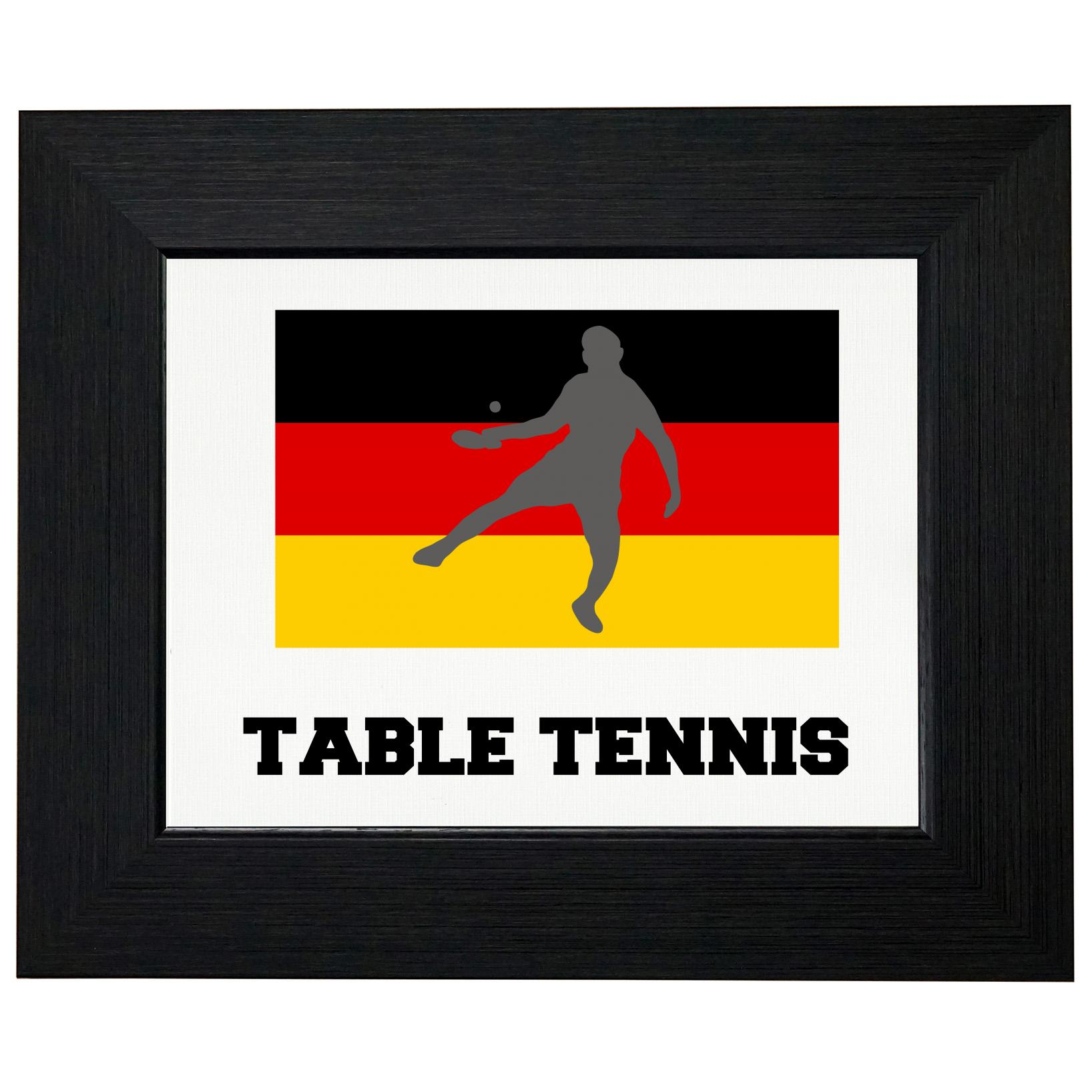 Germany Olympic Ping Pong Flag Silhouette Framed Print Poster Wall or Desk Mount Options by Royal Prints
