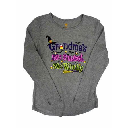 Happy Halloween Womens Gray Grandmas 50% Sweet 50% Witchy T-Shirt Tee Shirt S - Happy Halloween Zim