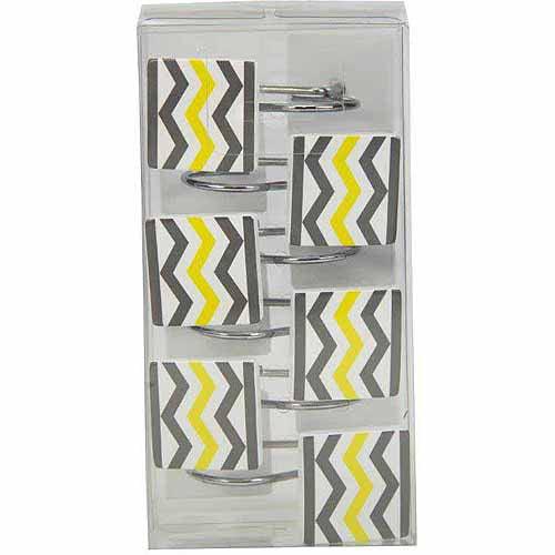 Mainstays Chevron Shower Curtain Hooks, Yellow