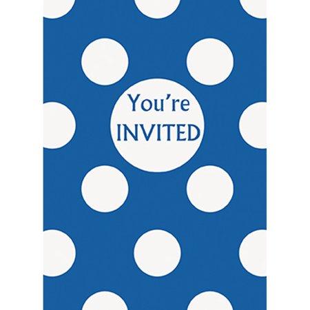 Royal Blue Polka Dot Party Invitations, 8ct, Package of 8 Royal Blue Polka Dot Invitations By Unique