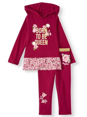 Garanimals Long Sleeve Hoodie & Metallic Waistband Leggings, 2pc Outfit Set (Toddler Girls)