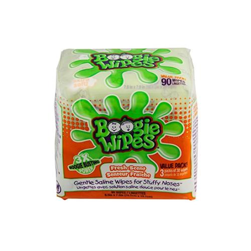 Boogie Wipes Gentle Saline Wipes, Fresh 90 ea (Pack of 4)