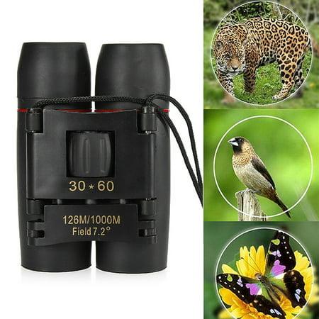 30x60 Zoom Folding Binoculars Telescope Day Outdoor Travel Scope w/ Strip&Bag For Hunting Camping Hiking Travel Bird