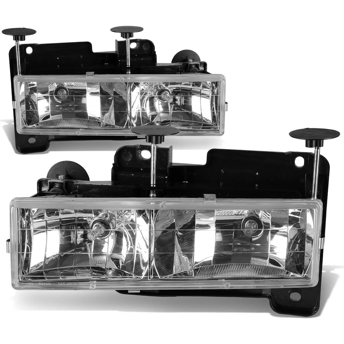 For 1988 To 1998 Chevy Gmc C  K Blazer Tahoe Yukon Headlight Chrome Housing Headlamp