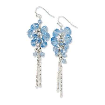 Tone Cluster Earrings (Silver Tone Blue Glass Beads Cluster Drop Dangle Chandelier Earrings Gifts For Women For Her)