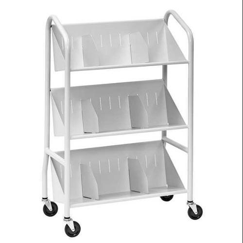 Sloped Shelf Book Cart, Platinum ,Buddy Products, 5414-32