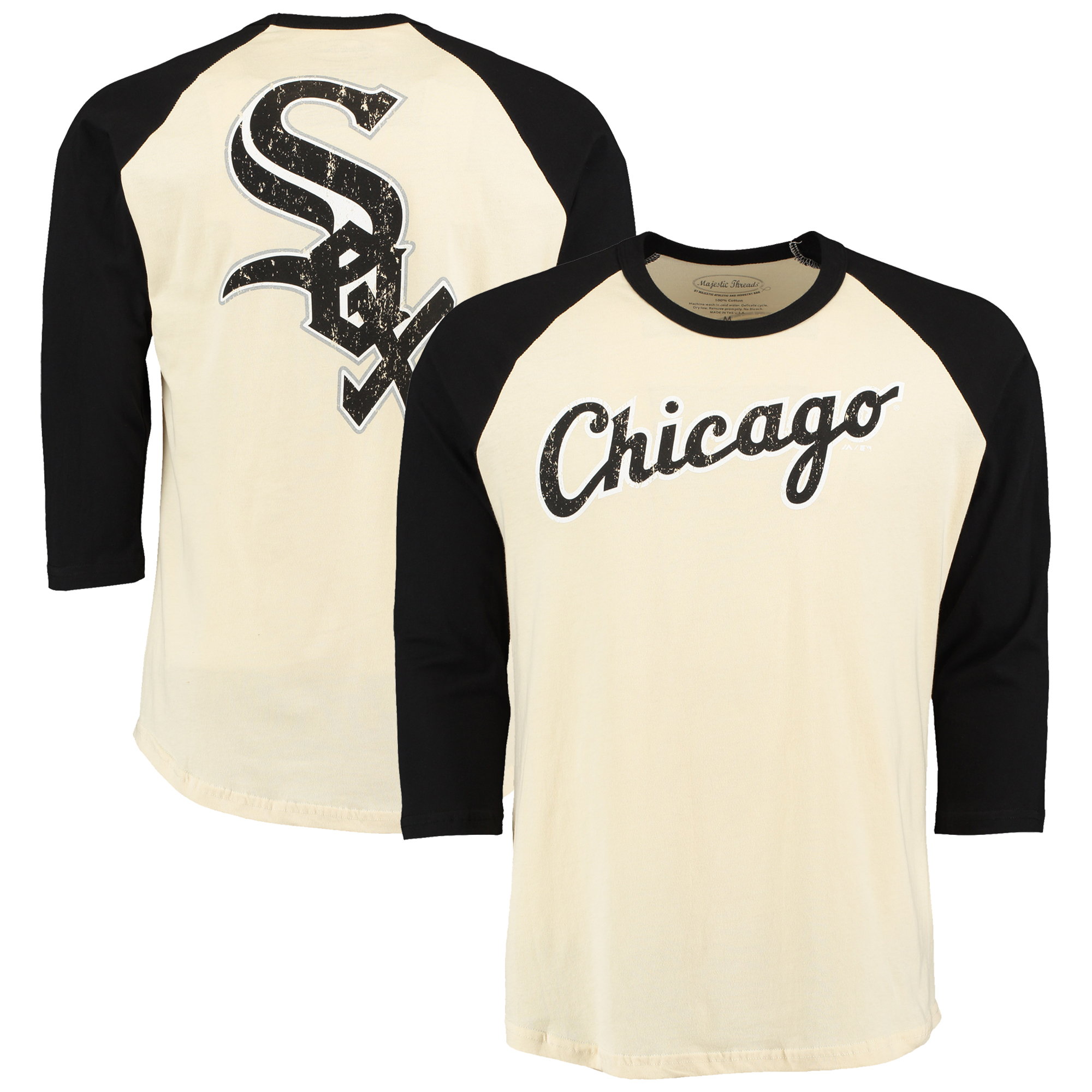 Chicago White Sox Majestic Threads Softhand Vintage Cooperstown Three-Quarter Raglan Sleeve T-Shirt - Cream/Black