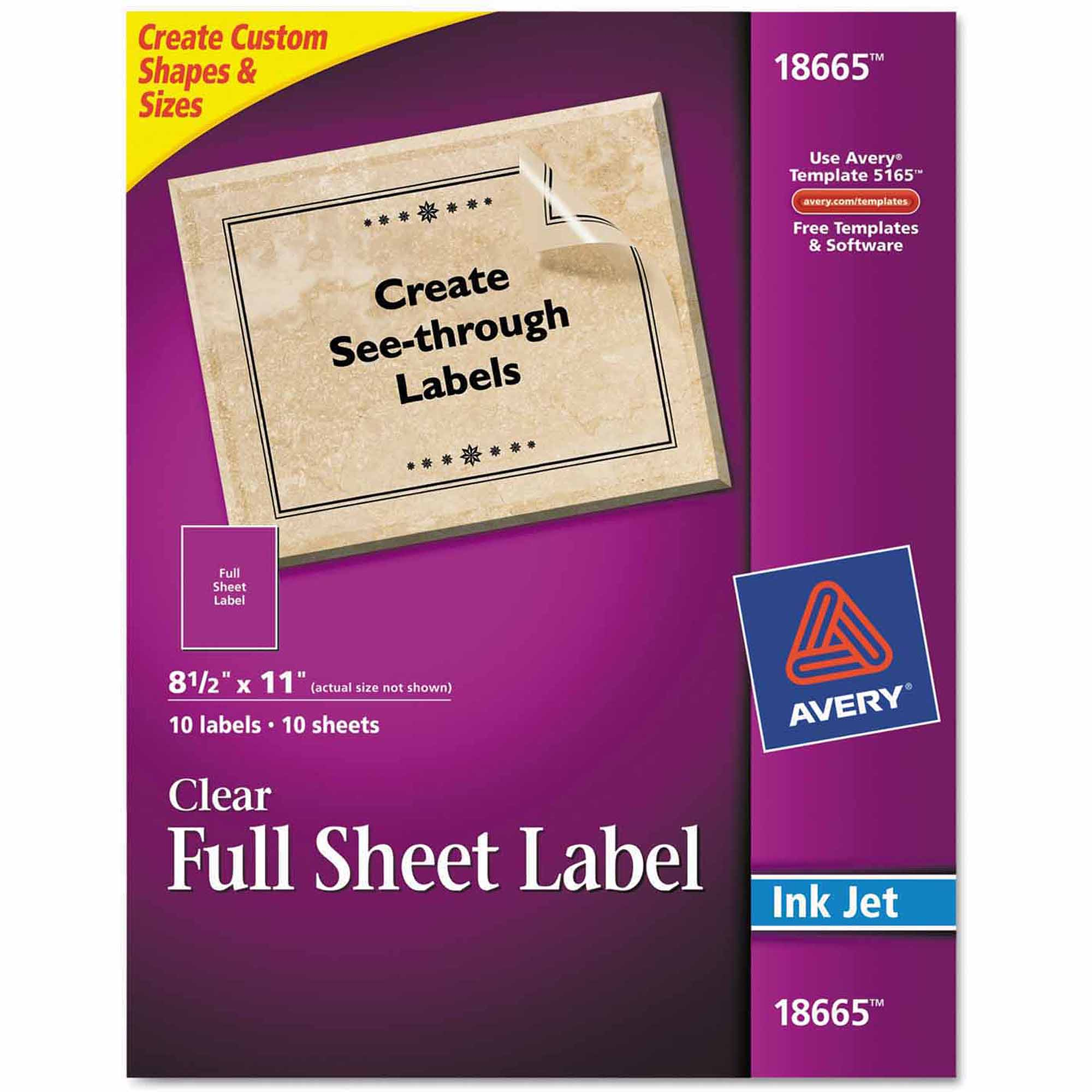 "Avery Easy Peel Mailing Labels for Inkjet Printers, 8-1/2"" x 11"", Clear, 10/Pack"