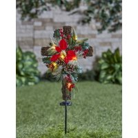 Solar Lighted Christmas Cross Stake with faux Pine Cones, Foliage