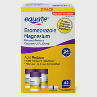 (3 Pack) Equate Acid Reducer Esomeprazole Magnesium Delayed-Release Caps, 20mg, 42 Ct