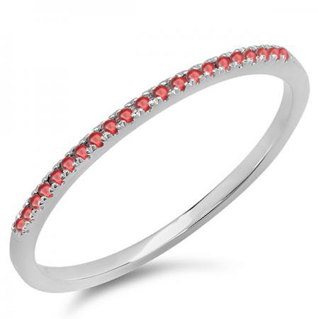 0.08 Carat (ctw) 18K White Gold Round Ruby Ladies Dainty Anniversary Wedding Band Stackable Ring