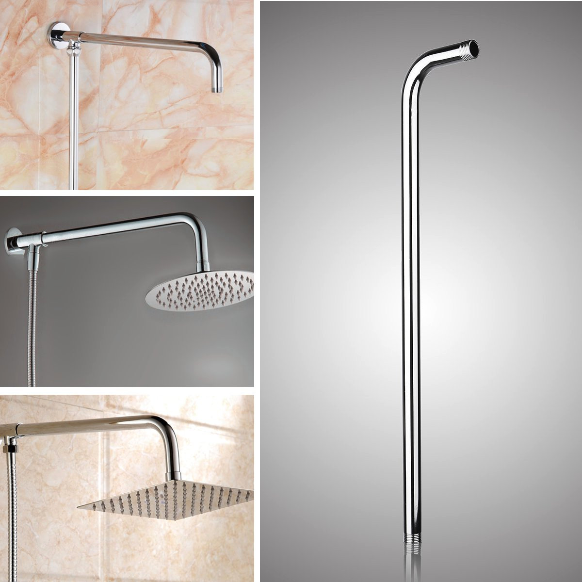 Superbe 24u0027u0027(60cm) Stainless Steel Rainfall Shower Head Arm Round Wall Mounted Tube