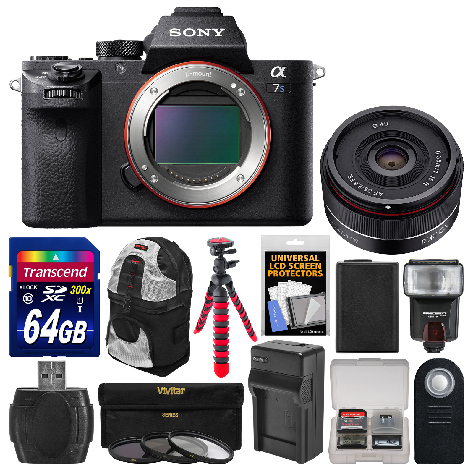 Sony Alpha A7S II 4K Wi-Fi Digital Camera Body with 35mm f 2.8 Lens + 64GB Card + Backpack + Flash + Battery &... by Sony